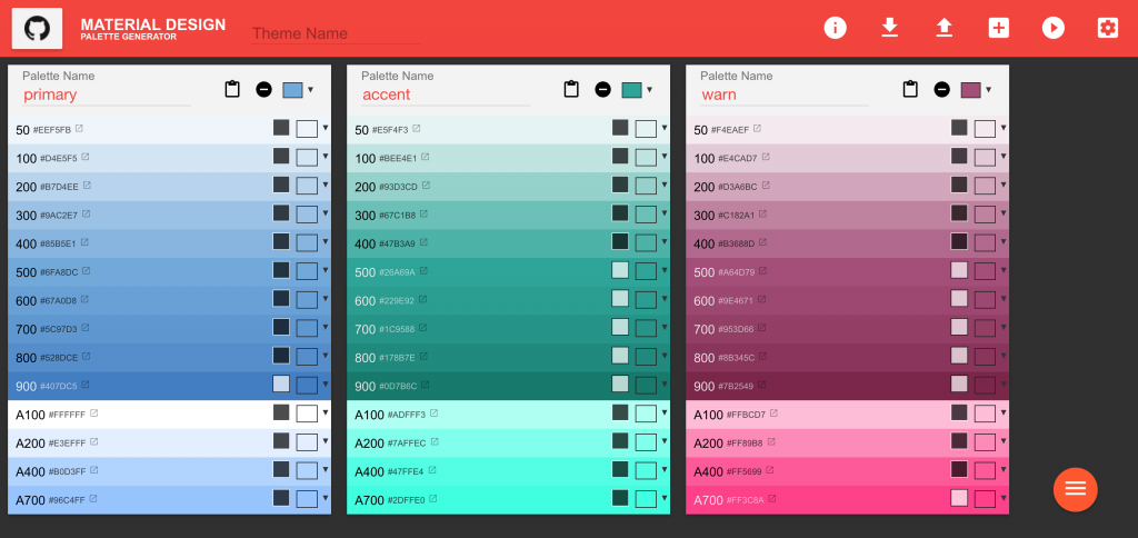 Material Design Theme & Palette Color